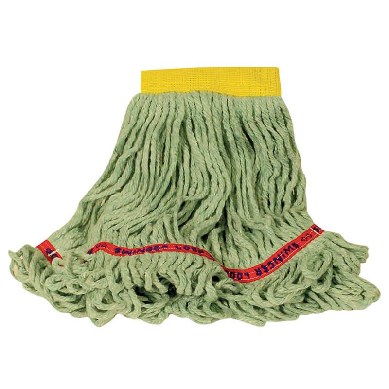 "Rubbermaid FGC15106 GR00 Looped-End Small Wet Mop Head - 5"" Headband, 4-Ply Cotton/Synthetic, Green"