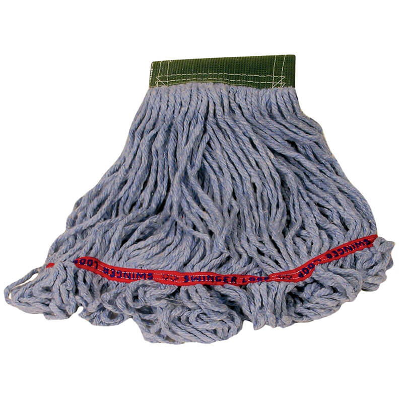 """Rubbermaid FGC15206BL00 Looped-End Medium Wet Mop Head - 5"""" Headband, 4-Ply Cotton/Synthetic, Blue"""