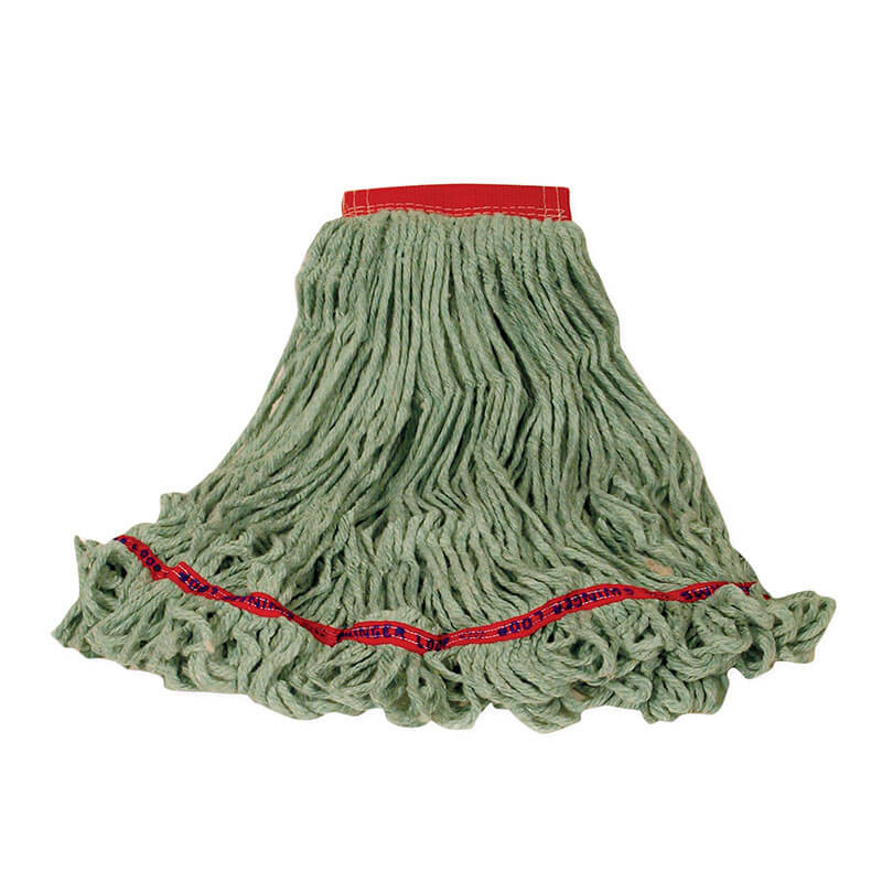 "Rubbermaid FGC15306 GR00 Looped-End Large Wet Mop Head - 5"" Headband, 4-Ply Cotton/Synthetic, Green"