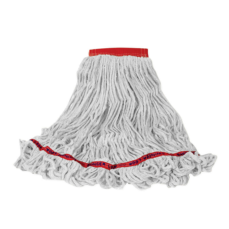 "Rubbermaid FGC15306 WH00 Looped-End Large Wet Mop Head - 5"" Headband, 4-Ply Cotton/Synthetic, White"