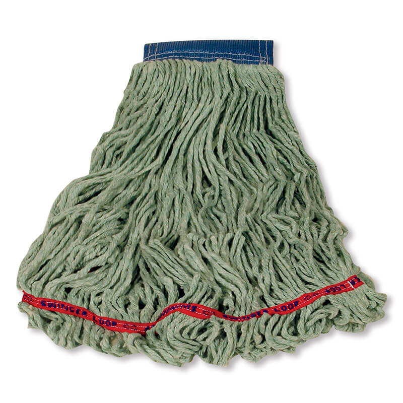 "Rubbermaid FGC15406 GR00 Looped-End X-Large Wet Mop Head - 5"" Headband, 4-Ply Cotton/Synthetic, Green"