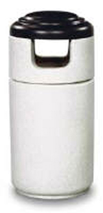 Rubbermaid FGFGC2044PLSENCR 23-gal Cornerstone Waste Receptacle - Covered Top, Fiberglass, Sand Conc