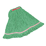 "Rubbermaid FGC21106 GR00 Looped-End Small Mop Head - 1"" Headband, 4-Ply Cotton/Synthetic, Green"