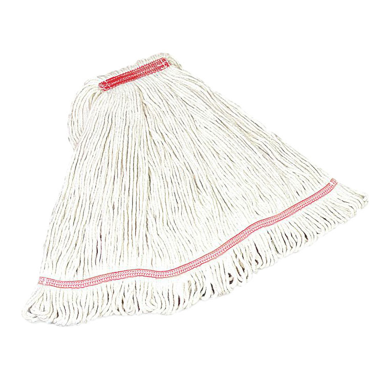"Rubbermaid FGC21106WH00 Looped-End Small Mop Head - 1"" Headband, 4-Ply Cotton/Synthetic, White"
