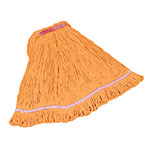 "Rubbermaid FGC21206 OR00 Looped-End Medium Mop Head - 1"" Headband, 4-Ply Cotton/Synthetic, Orange"