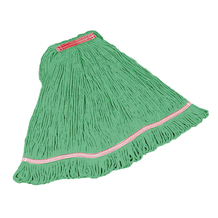 "Rubbermaid FGC25206GR00 Looped-End Medium Mop Head - 5"" Headband, 4-Ply Cotton/Synthetic, Green"