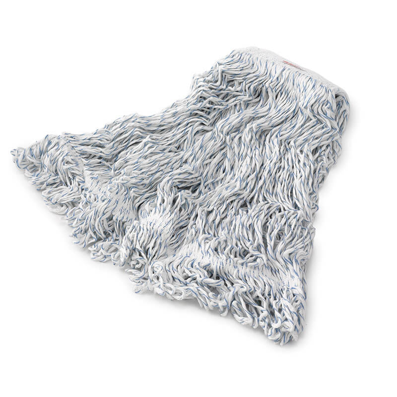 """Rubbermaid FGC41206WH00 Looped-End Medium Wet Mop Head - 1"""" Headband, 8-Ply Cotton/Synthetic, White/Blue"""