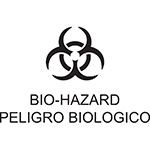 "Rubbermaid FGCL1 Medical Waste Decal - ""Bio Hazard"" English/Spanish"