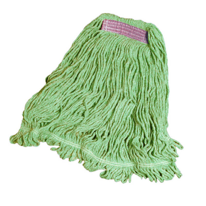 "Rubbermaid FGD21106 GR00 Super Stitch Small Mop Head - 1"" Headband, 4-Ply Cotton/Synthetic, Green"