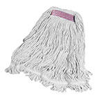 "Rubbermaid FGD21106 WH00 Super Stitch Small Mop Head - 1"" Headband, 4-Ply Cotton/Synthetic, White"