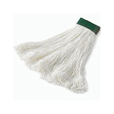 "Rubbermaid FGD45206 WH00 Super Stitch Medium Mop Head - 5"" Green Headband, 4-Ply Rayon, White"
