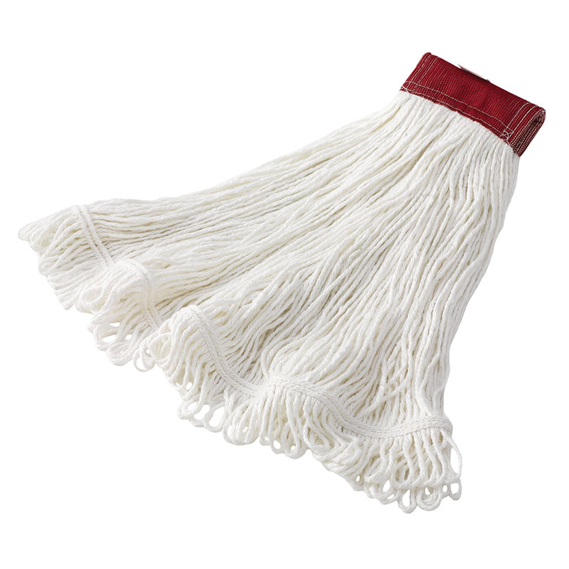 "Rubbermaid FGD45306 WH00 Super Stitch Large Mop Head - 5"" Red Headband, 4-Ply Rayon, White"