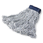 "Rubbermaid FGD55206 WH00 Medium Finish Mop Head - 5"" Headband, 4-Ply Yarn, White/Blue Stripe"