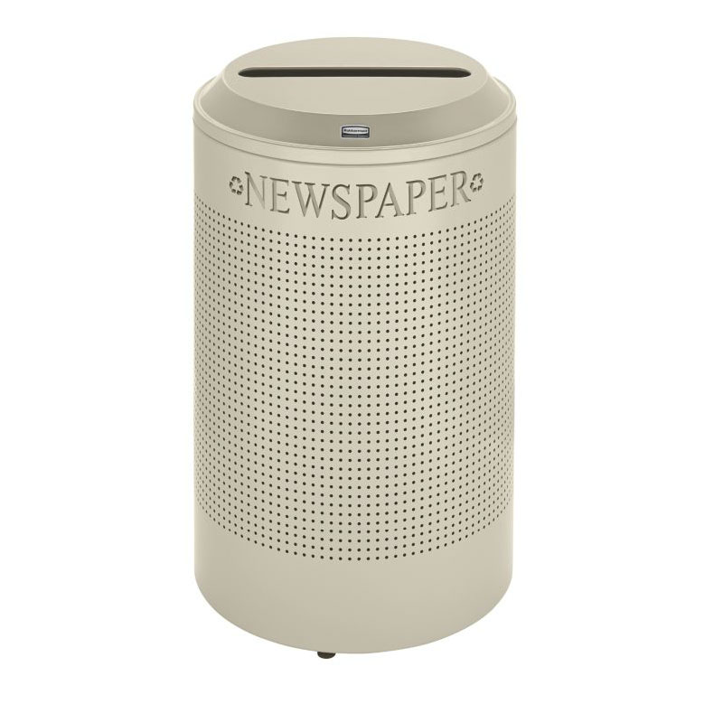 Rubbermaid FGDRR24P DP 26-gal Silhouette Round Recycling Container - Paper, Desert Pearl