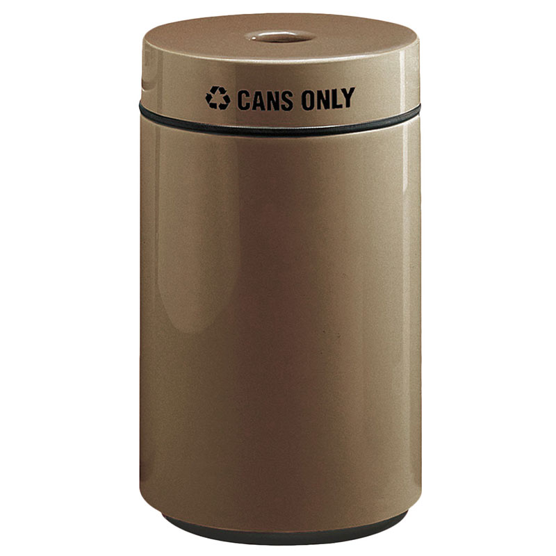 Rubbermaid FG1630CPLBZ 15-gal Can Recycling Receptacle - Fiberglass, Bronze