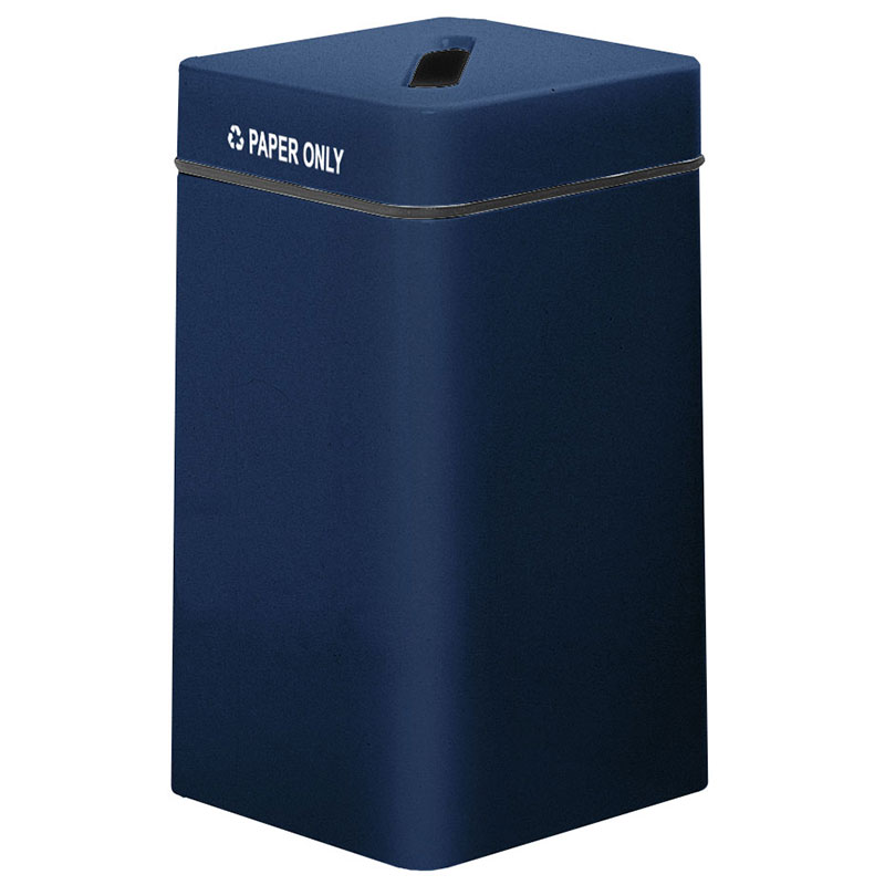 Rubbermaid FG1630SQPPLNBL 20-gal Paper Recycling Receptacle - Square, Fiberglass, Navy Blue