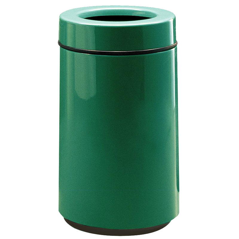 Rubbermaid FG1630TPLEGN 15-gal Waste Receptacle - Open Top, Fiberglass, Empire Green