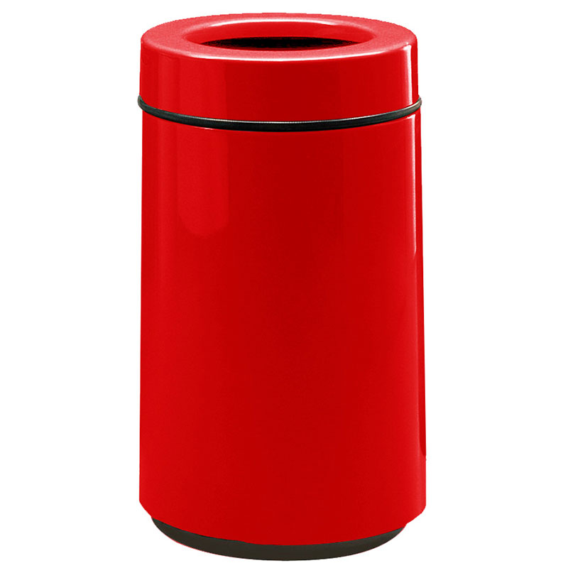 Rubbermaid FG1630TPLRD 15-gal Waste Receptacle - Open Top, Fiberglass, Red
