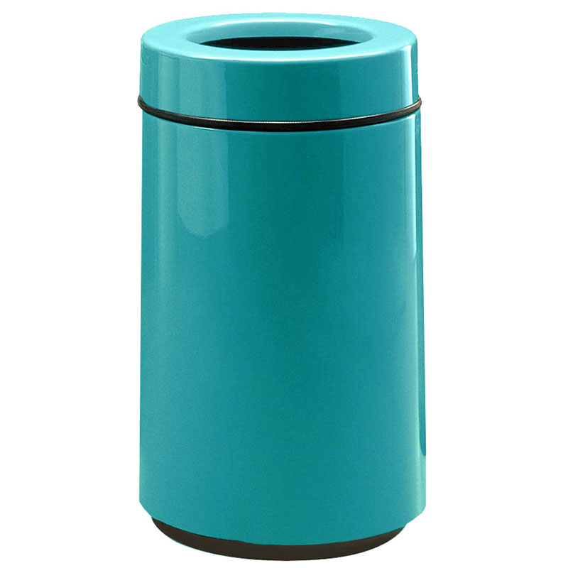 Rubbermaid FG1630TPLSGN 15-gal Waste Receptacle - Open Top, Fiberglass, Sea Green
