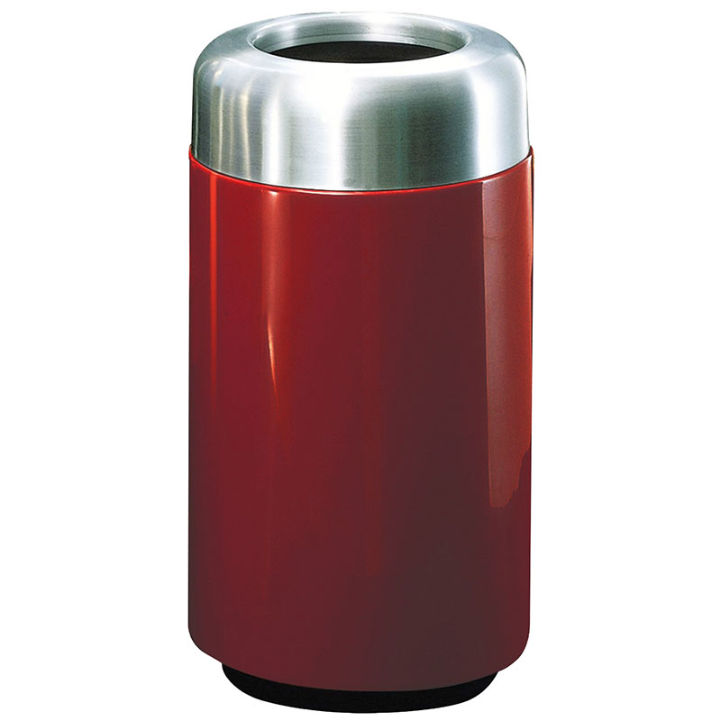 "Rubbermaid FG1630TSAPLBY 15-gal Waste Receptacle - Open Top, Aluminum/Fiberglass, 16x30"" Burgundy"