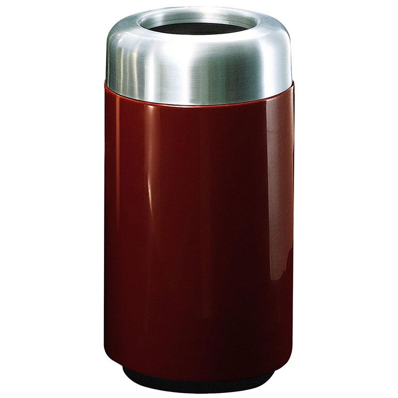 "Rubbermaid FG1630TSAPLMN 15-gal Waste Receptacle - Open Top, Aluminum/Fiberglass, 16x30"" Maroon"