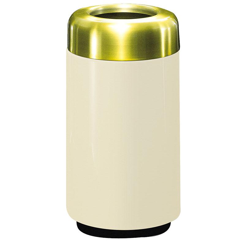 Rubbermaid FG1630TSBPLAL 15-gal Waste Receptacle - Open Top, Brass/Fiberglass, Almond