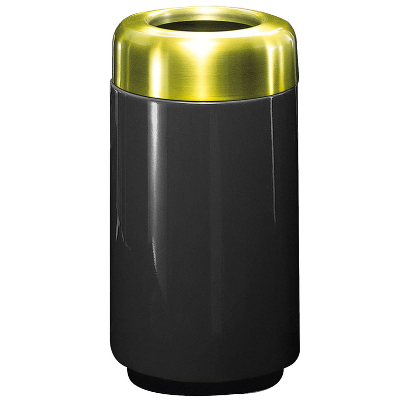 Rubbermaid FG1630TSBPLBK 15-gal Waste Receptacle - Open Top, Brass/Fiberglass, Black