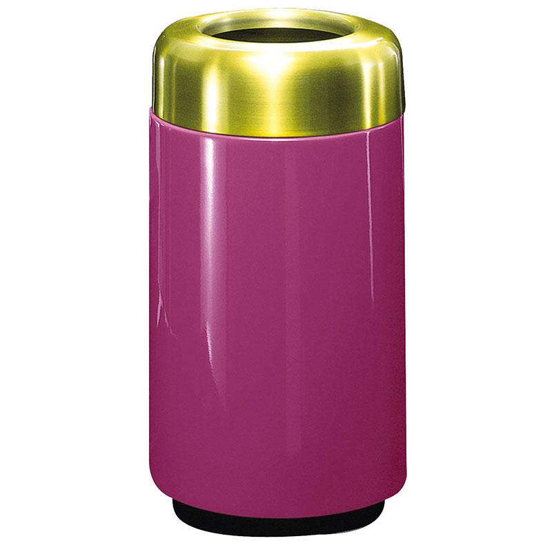 Rubbermaid FG1630TSBPLBPM 15-gal Waste Receptacle - Open Top, Brass/Fiberglass, Bright Plum