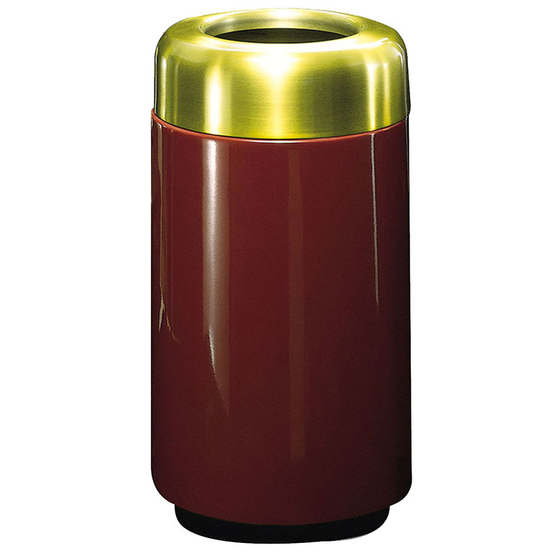 Rubbermaid FG1630TSBPLBY 15-gal Waste Receptacle - Open Top, Brass/Fiberglass, Burgundy