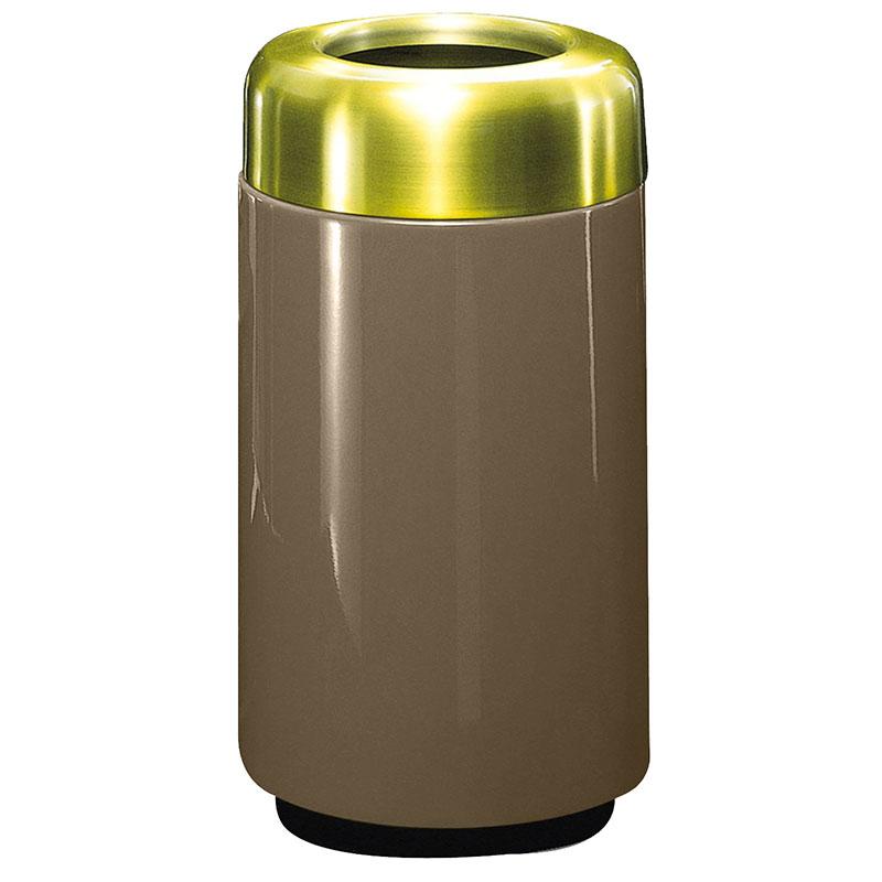 Rubbermaid FG1630TSBPLBZ 15-gal Waste Receptacle - Open Top, Brass/Fiberglass, Bronze