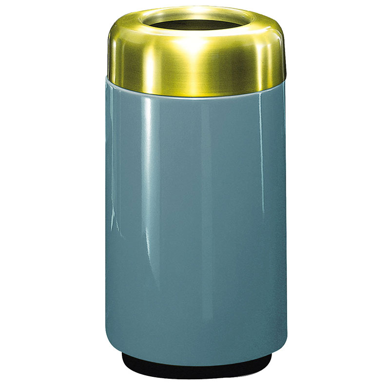 Rubbermaid FG1630TSBPLCBL 15-gal Waste Receptacle - Open Top, Brass/Fiberglass, Country Blue