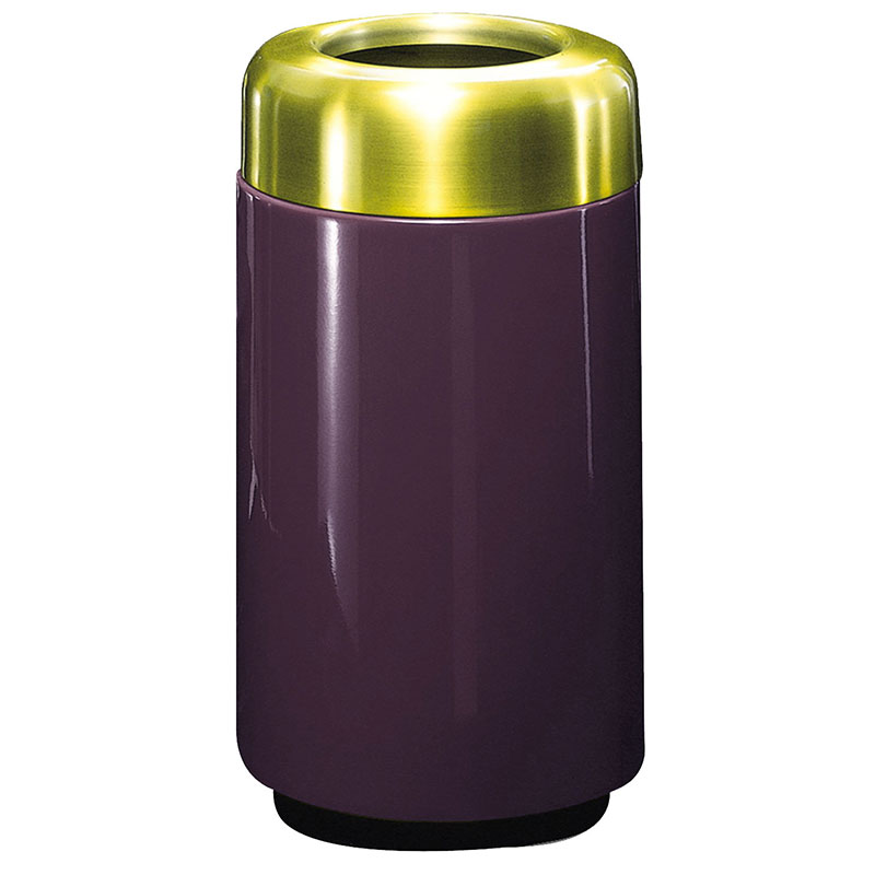 Rubbermaid FG1630TSBPLEGP 15-gal Waste Receptacle - Open Top, Brass/Fiberglass, Eggplant