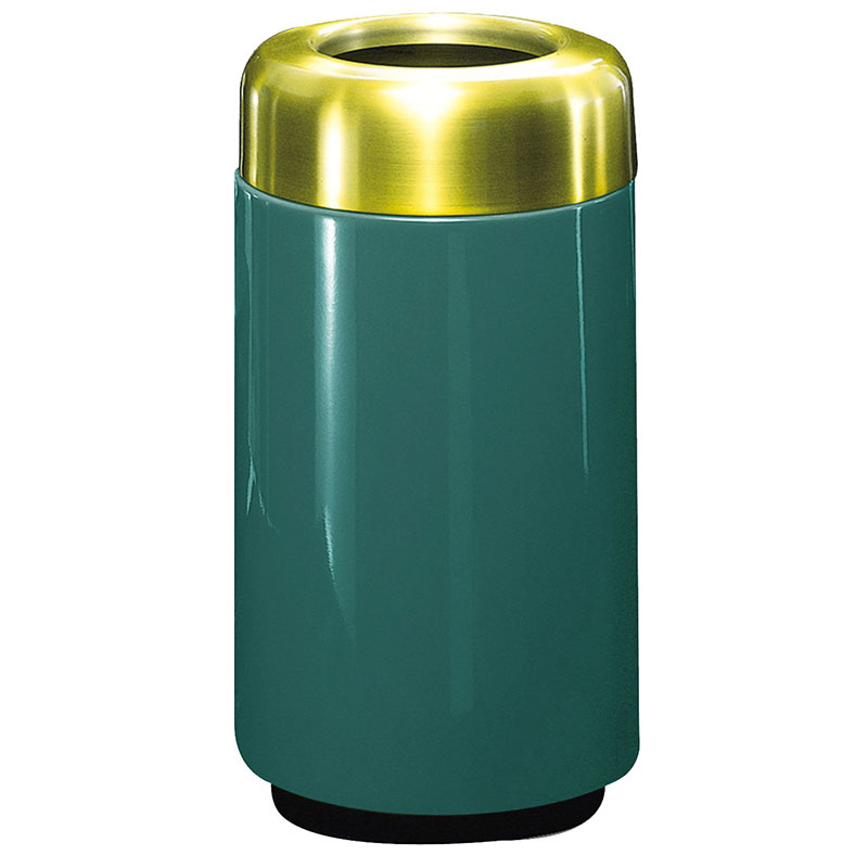 Rubbermaid FG1630TSBPLFGN 15-gal Waste Receptacle - Open Top, Brass/Fiberglass, Forest Green