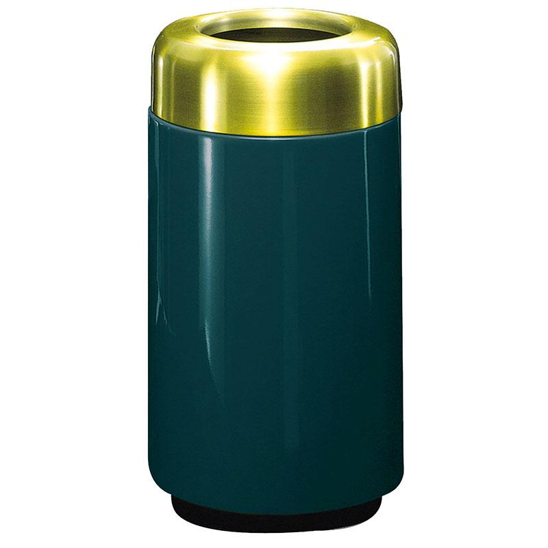 Rubbermaid FG1630TSBPLHGN 15-gal Waste Receptacle - Open Top, Brass/Fiberglass, Hunter Green