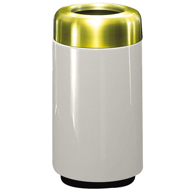 Rubbermaid FG1630TSBPLLGR 15-gal Waste Receptacle - Open Top, Brass/Fiberglass, Light Gray