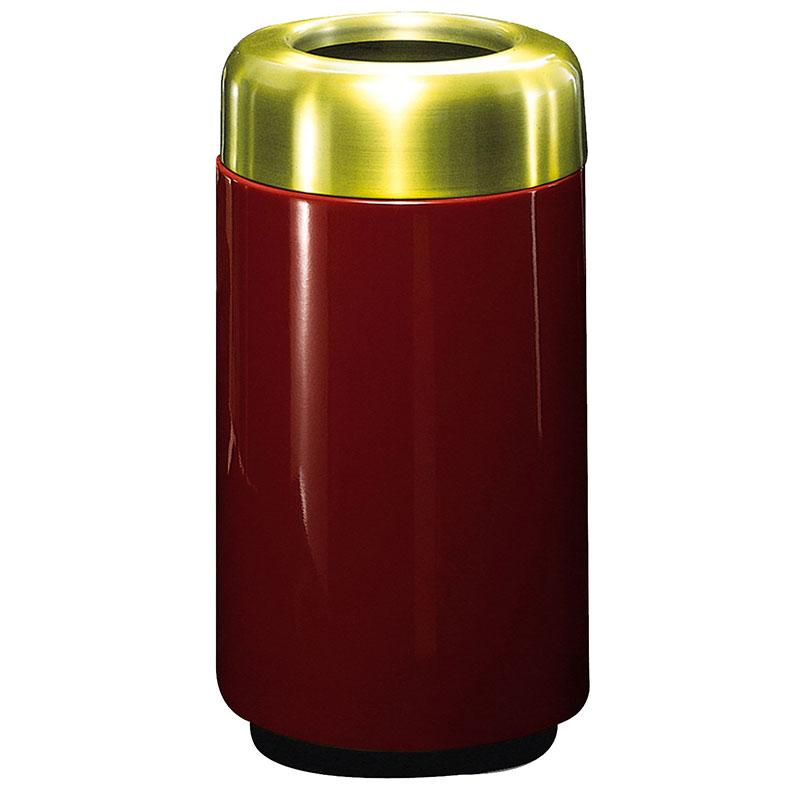 Rubbermaid FG1630TSBPLMN 15-gal Waste Receptacle - Open Top, Brass/Fiberglass, Maroon