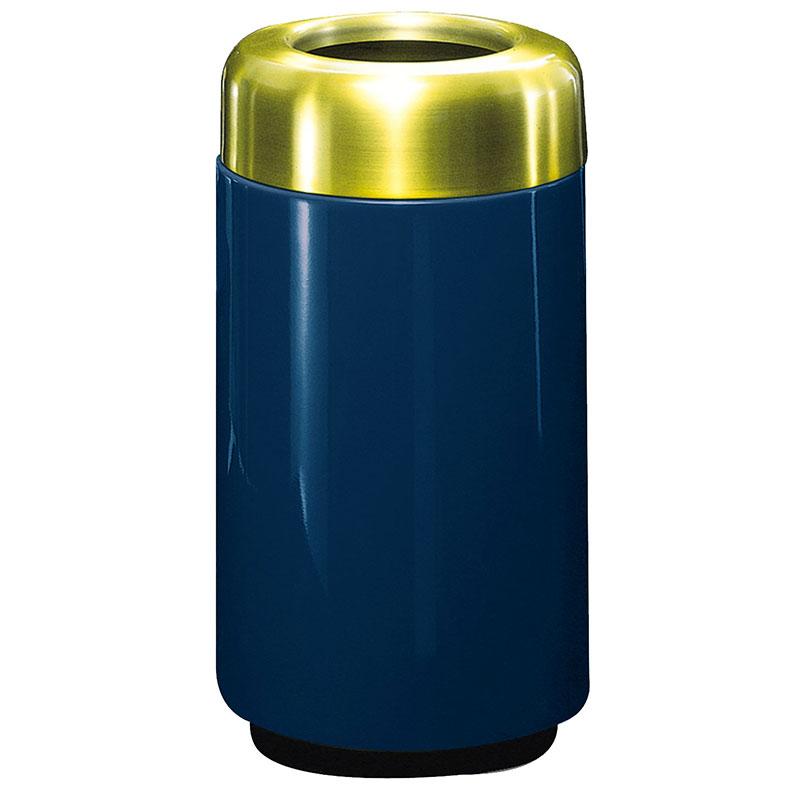 Rubbermaid FG1630TSBPLNBL 15-gal Waste Receptacle - Open Top, Brass/Fiberglass, Navy Blue