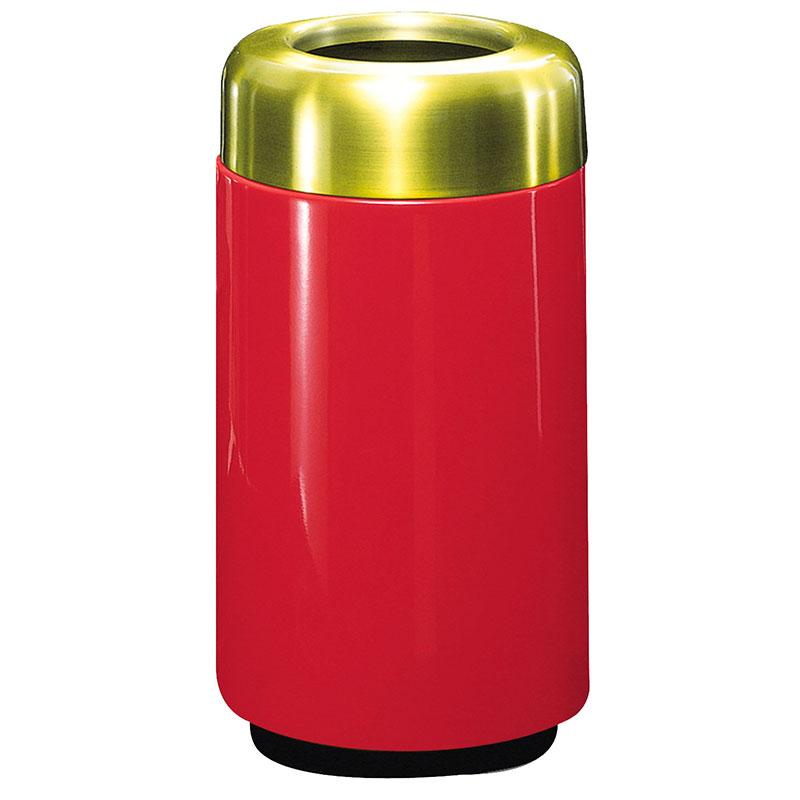 Rubbermaid FG1630TSBPLRD 15-gal Waste Receptacle - Open Top, Brass/Fiberglass, Red