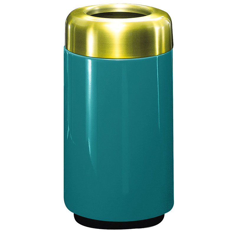 Rubbermaid FG1630TSBPLSGN 15-gal Waste Receptacle - Open Top, Brass/Fiberglass, Sea Green