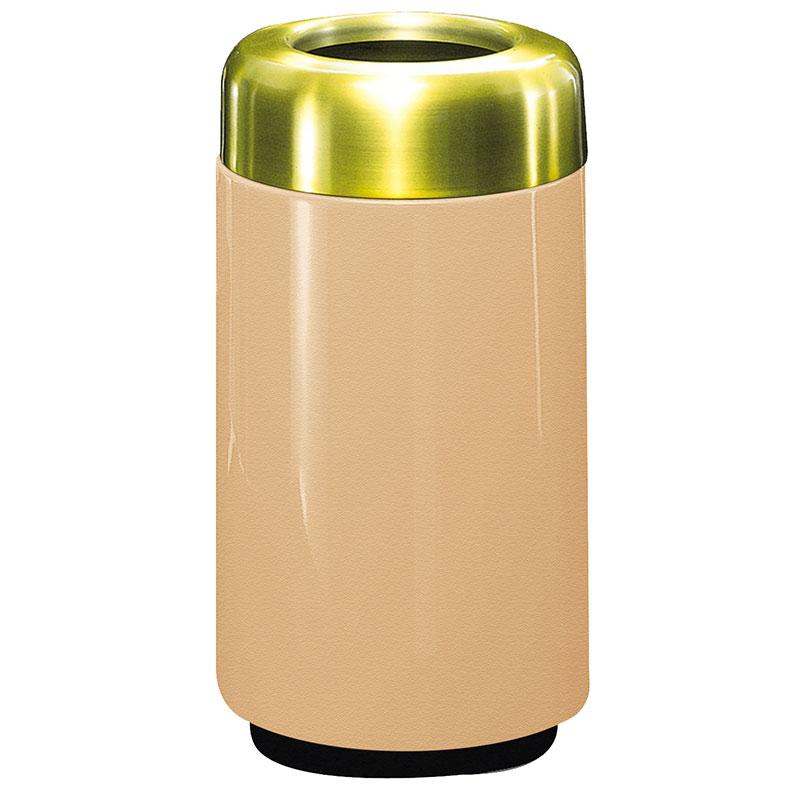 Rubbermaid FG1630TSBPLTN 15-gal Waste Receptacle - Open Top, Brass/Fiberglass, Tan