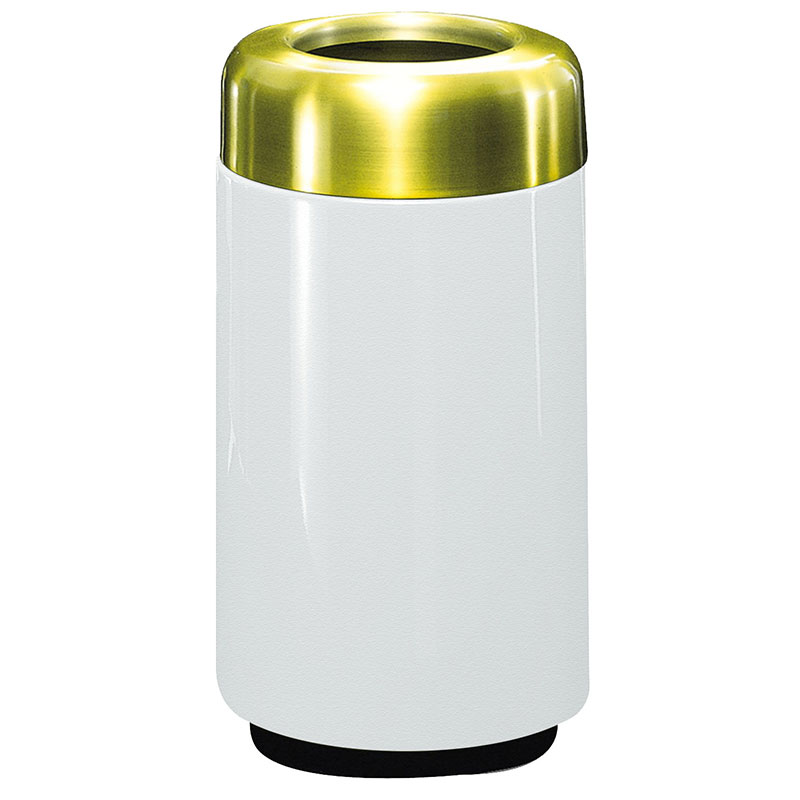 Rubbermaid FG1630TSBPLWH 15-gal Waste Receptacle - Open Top, Brass/Fiberglass, White