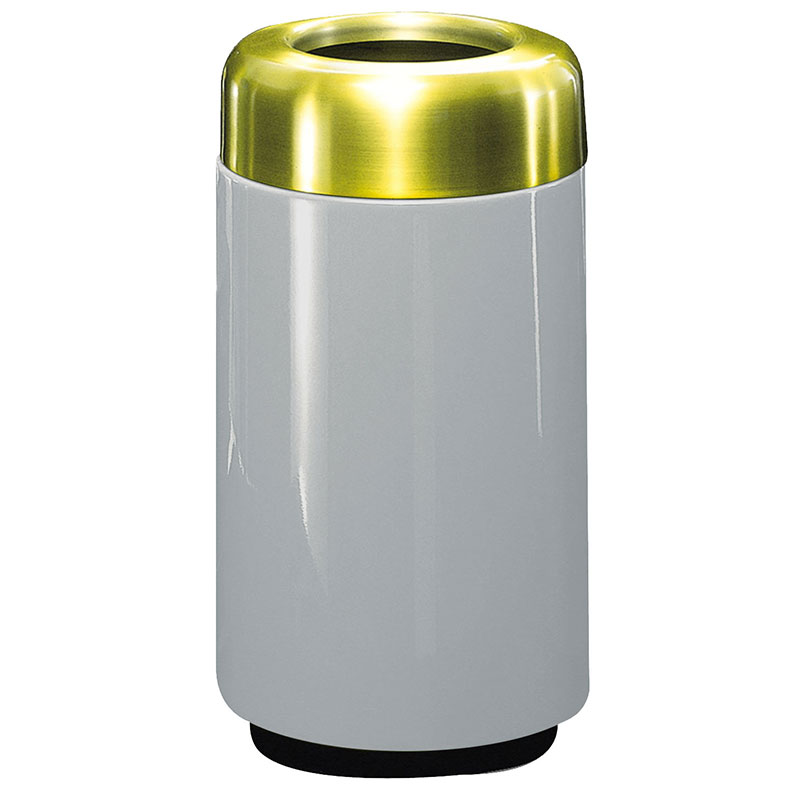 Rubbermaid FG1630TSBPLWMG 15-gal Waste Receptacle - Open Top, Brass/Fiberglass, Warm Gray