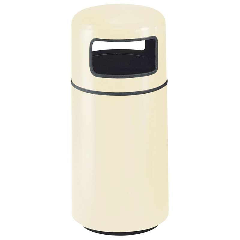 Rubbermaid FG1639PLAL 15-gal Waste Receptacle - Covered Top, Fiberglass, Almond