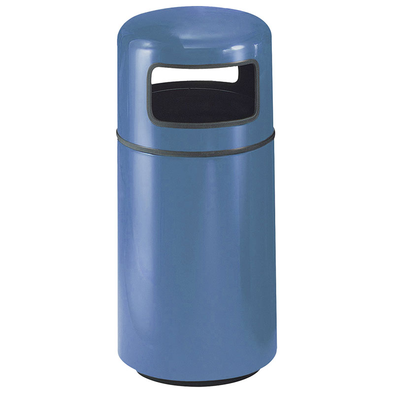 Rubbermaid FG1639PLBB 15-gal Waste Receptacle - Covered Top, Fiberglass, Blackberry