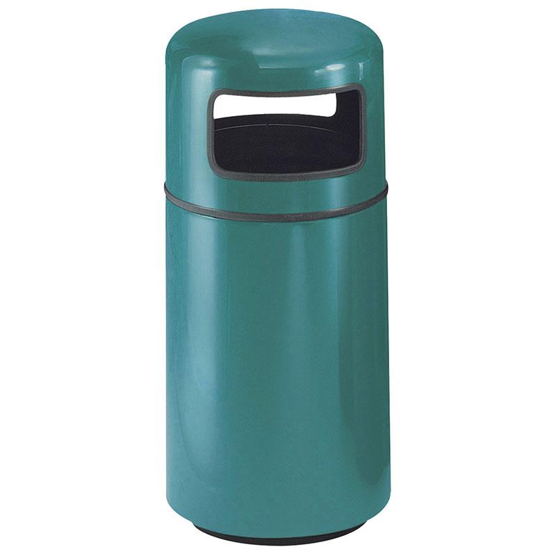 Rubbermaid FG1639PLSGN 15-gal Waste Receptacle - Covered Top, Fiberglass, Sea Green