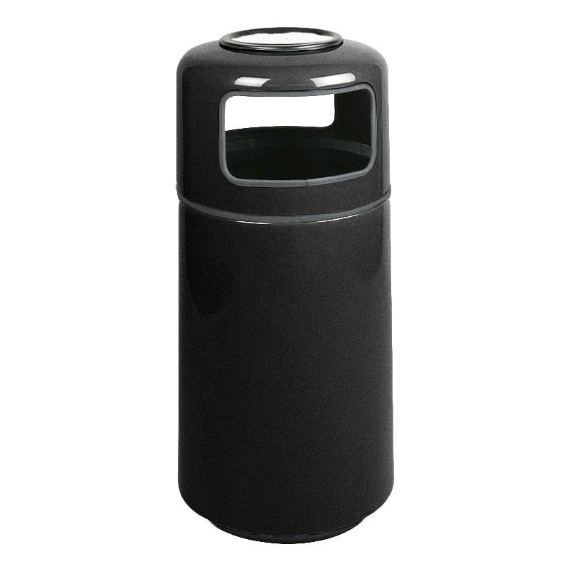Rubbermaid FG1639SUPLBK 15-gal Ash/Trash Receptacle - Sand Urn Top, Fiberglass, Black
