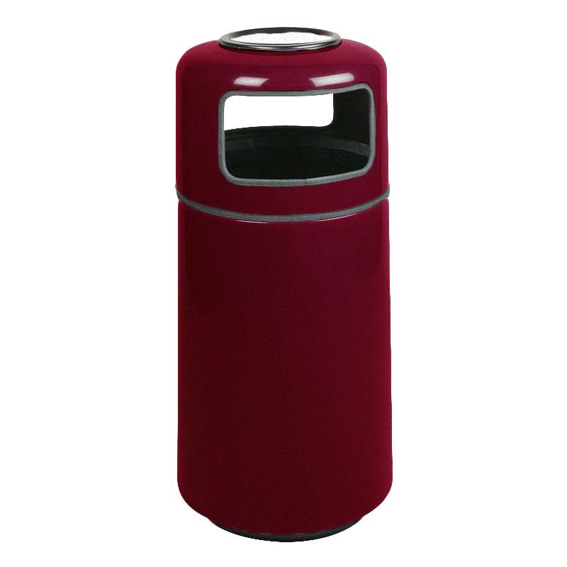 Rubbermaid FG1639SUPLBYW 15-gal Ash/Trash Receptacle - Sand Urn Top, Fiberglass, Burgundy Wine