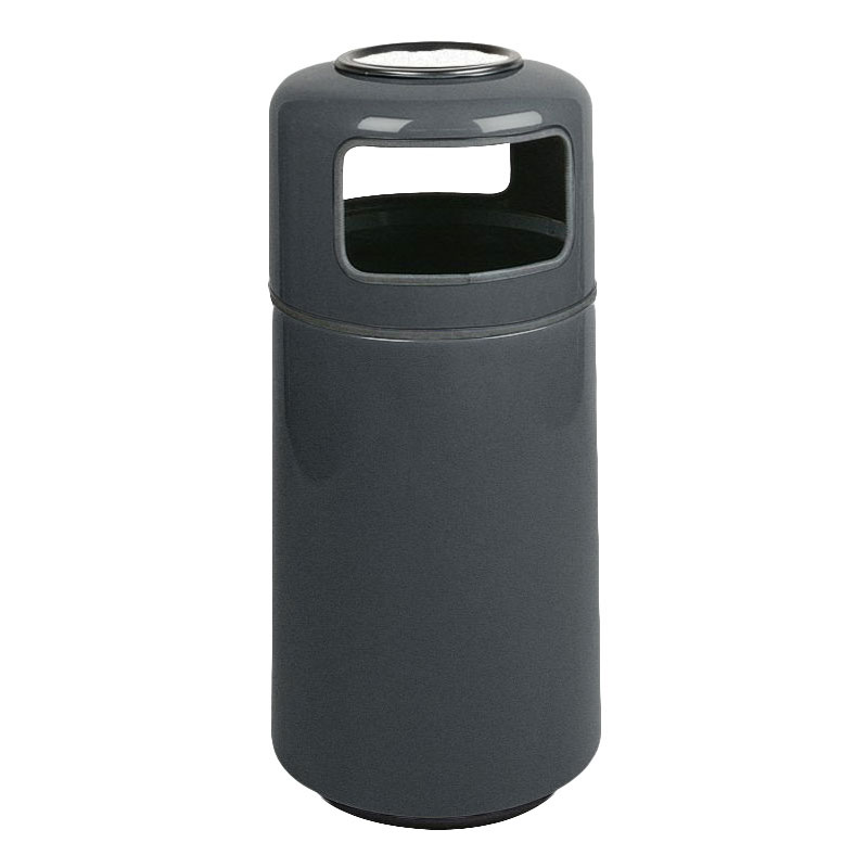 Rubbermaid FG1639SUPLCH 15-gal Ash/Trash Receptacle - Sand Urn Top, Fiberglass, Charcoal