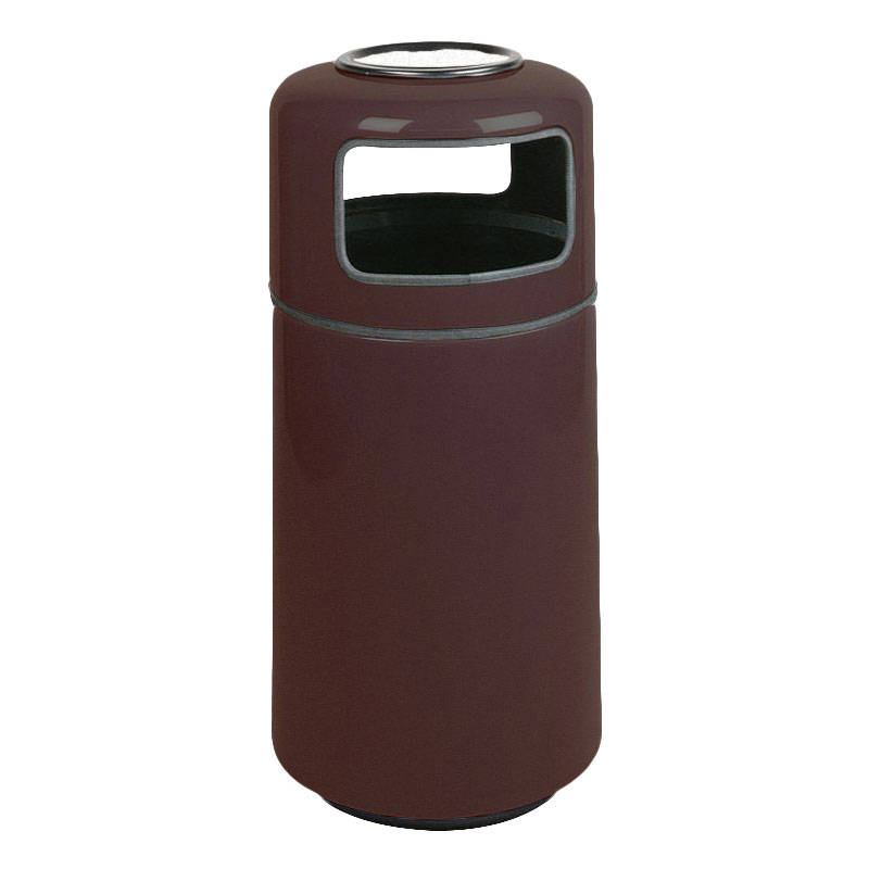 Rubbermaid FG1639SUPLDBN 15-gal Ash/Trash Receptacle - Sand Urn Top, Fiberglass, Dark Brown