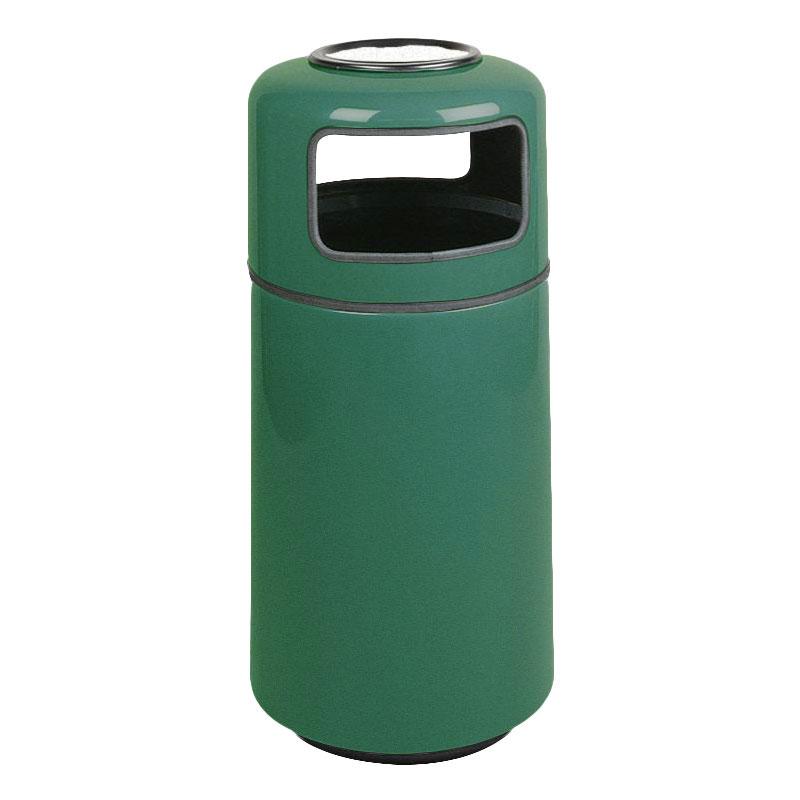Rubbermaid FG1639SUPLEGN 15-gal Ash/Trash Receptacle - Sand Urn Top, Fiberglass, Empire Green